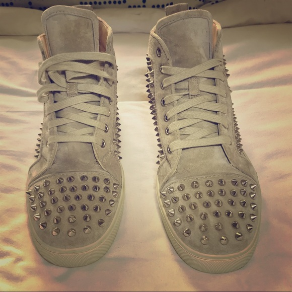 """a27eab99168 Christian Louboutin """"Louis"""" Spiked Suede Trainers"""